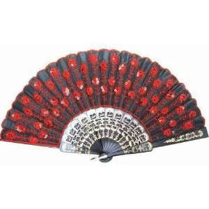 Beautiful Ladys Silk Hand Fan with Red Sequins