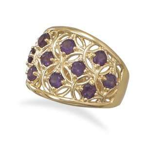 18 Karat Gold Plated Brass Ornate Fashion Ring With Ten