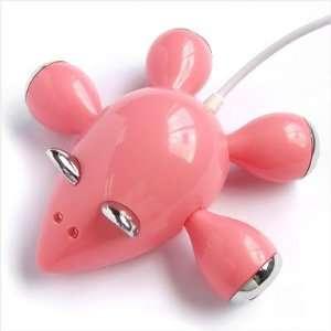 Pink Mouse 4 Port High Speed Mini USB Hub