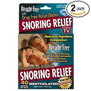 Breathe Free Snoring Relief Drug Free Nasal Dilator, Mentholated (Pack