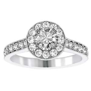 1.30 CT TW Halo Pave Accented Round Diamond Engagement