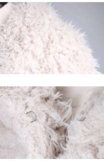New mens Fashion Top Fur Unique luxury White Fur Collar Jacket Onesize