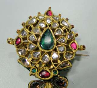 Antique Royal Diamond Ruby Emerald Gold Maharaja turban pin pendant