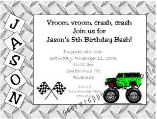 20 MONSTER TRUCK JAM Custom Birthday Party Invitations