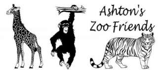 Zoo animals with personalized name Vinyl Wall Decal Sticky Decor