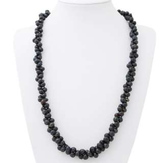 64 7mm 8mm Freshwater Black Pearls Endless Necklace