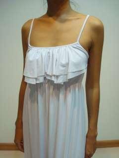 Womens White Spaghetti Ruffle Party Summer Long Maxi Dress Sz XXL 3XL