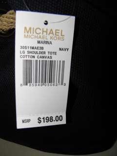 Michael Kors Marina LG Shoulder Tote Bag Handbag Navy