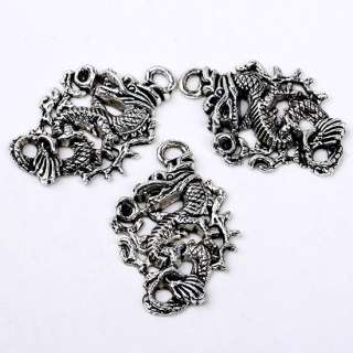 10 PCS TIBETAN SILVER DRAGON CHARM PENDANT FINDINGS