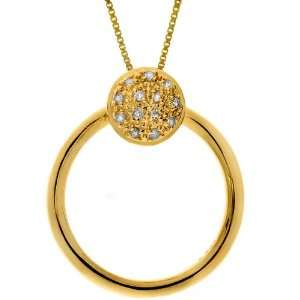 Yellow Gold Plated Sterling Silver Diamond Circle Two in One Pendant