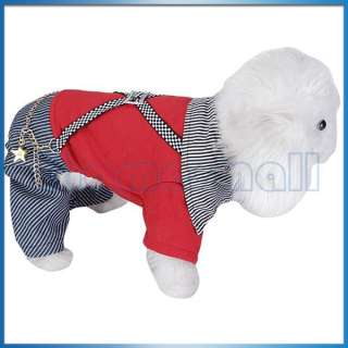 Pet Dog Jumpsuit Casual Suspenders Pants Style Collared Apparel