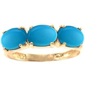 14K Yellow Gold Oval Three Stone Ring Turquoise, size7