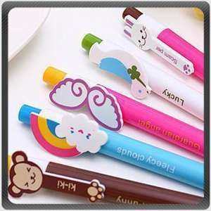 6Pcs Cartoon Retractable Cute Ball Point Roller Pen