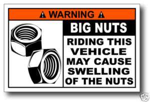 Big Nuts Quad funny Warning Sticker Decal Racer z400