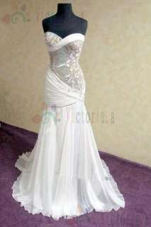 Beaded Chiffon Wedding Dress Bridal Gown Size 6 8 10 12 14 16++