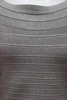 Herve Leger womens heather grey bandage knit boat neck ls dress S $