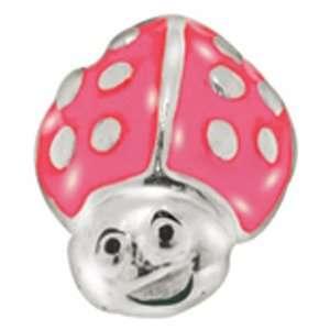 Avedon Kids Polished Sterling Silver Pink Enamel Ladybug