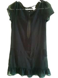 Urban Outfitters Sheer Black Ruffle Mini Dress S   Lux w/ Ribbon