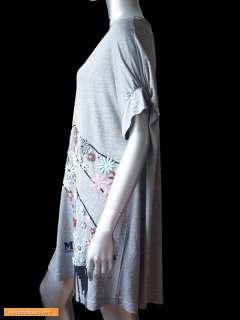 NWT M MISSONI Cotton Beaded Flower Tunic LONG T Shirt Dress Gray Top