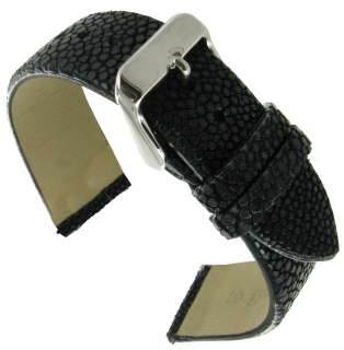 18mm Hadley Roma Black Genuine Stingray Watch Band Mens