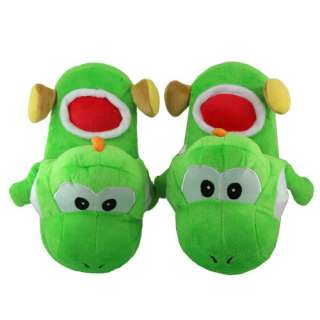 One Pair Super Mario Yoshi Soft Plush Slipper