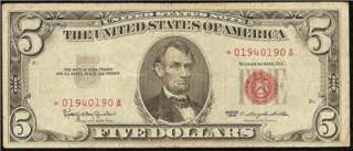 1963 $5 DOLLAR BILL * STAR * NOTE UNITED STATES LEGAL TENDER RED SEAL