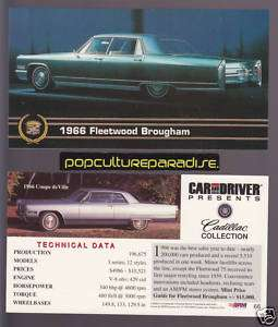 1966 CADILLAC FLEETWOOD BROUGHAM & COUPE DEVILLE CARD