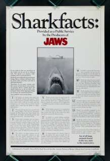 JAWS * SHARK FACTS 1975 ORIGINAL ROLLED MOVIE POSTER
