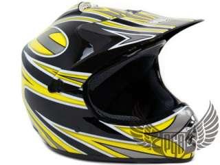 Youth PGR MX Dirt Bike Off Road Helmet Black Yellow M