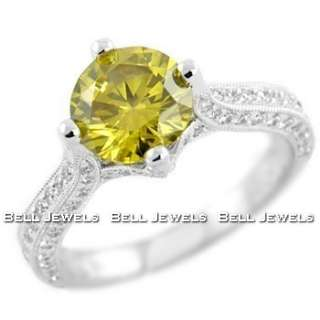 53ct VS1 CANARY YELLOW DIAMOND ENGAGEMENT RING 18K WHITE GOLD