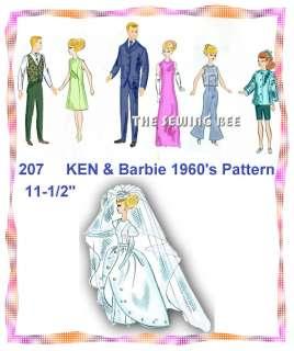 207 Barbie & Ken Doll Wardrobe pattern 11 1/2 1960s