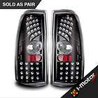 99 06 Chevy Silverado LED Tail Lights Black Housing Clear Lens Tail