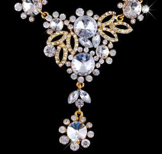 Flower White Rhinestone&Gold Plated Necklace&Earrings