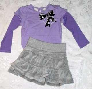 Gap Kids Girls XS/4 5 Gray Velour Skirt Purple Long Sleeve Bodysuit