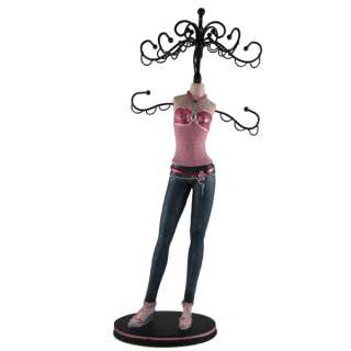 Denim Skinny Jeans Doll Jewelry Stand Tree Pink Top 15