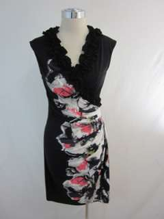 New Maggy London Black Multi Floral Jersey Dress 8P