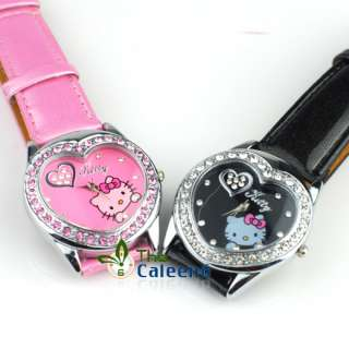 NEW Fashion Ladies Crystal Heart Children Quartz Hell Kitty Wrist