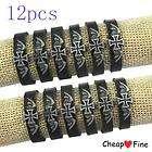 wholesale LOT12 Stylish Cross Genuine Leather Bracelet