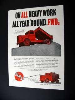 Four Wheel Drive FWD Model HR & HA Trucks 1947 print Ad