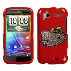 FACE WITH YELLOW BOW SWAROVSKI CRYSTAL DIAMOND ON RED SNAP ON CASE