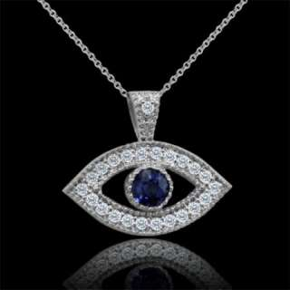 Diamond Sapphire Evil Eye 14K White Gold Pendant
