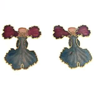Gold Plated Red and Light Blue Orchid Clisonne Earrings   27mm Length