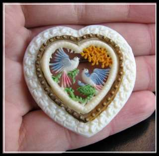 Antique VTG Old ART DECO CELLULOID Openwork COUPLE DOVES LOVE HEART