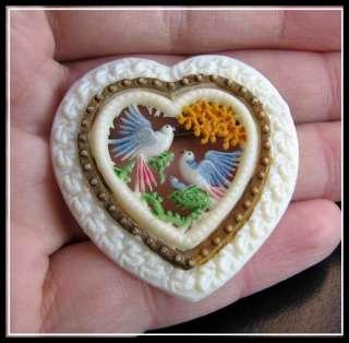 Antique VTG Old ART DECO CELLULOID Openwork COUPLE DOVES LOVE HEART