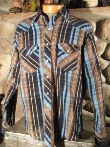 Vtg Mens Wrangler Western Cowboy Stripped Snap Heavy Flannel Work