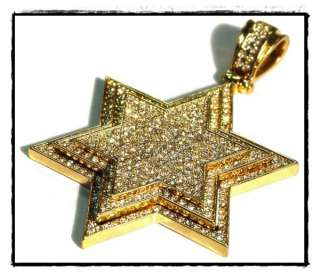 Hip Hop Star of David Pendant 5037G w/necklace 36 4mm wide Franco