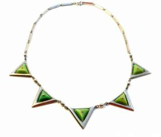 Vintage 20s 30s ART DECO Machine Age Chrome & Green Galalith Triangles