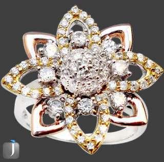 Sz 8 WHITE TOPAZ HOLLYWOOD ROSE GOLD 925 SILVER ANNIVERSARY WEDDING