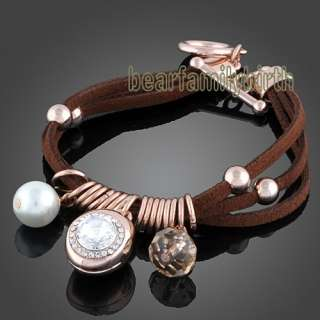 18K rose gold GP swarovski crystal bracelet 367