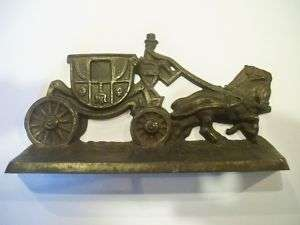 1920s Hubley 379 Cast Iron Horse Drawn Coach Bookends